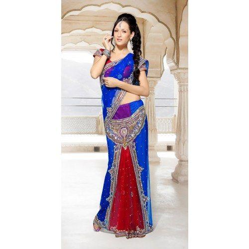 Buy Beautiful Wedding pakistani Blue and red color Heavy Hand Work Designer Lehenga Saree- Online Saree Shopping at Surat Sarees