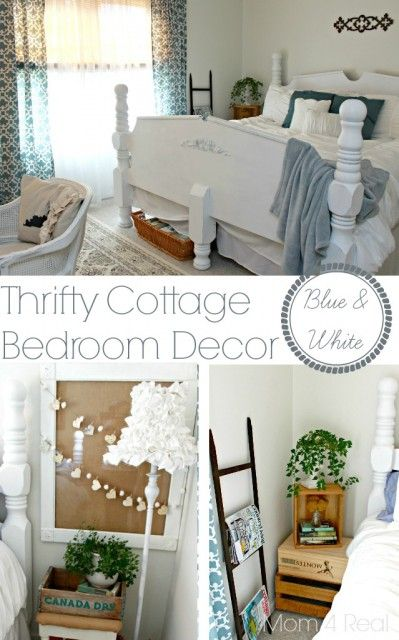 Thrifty Blue and White Cottage Bedroom Decor at mom4real.com