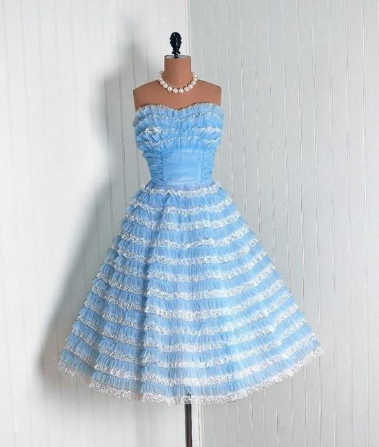 Cocktail Dress: 1950's, sheer nylon chiffon, lace.