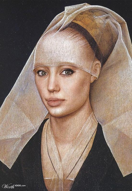 Classic Paintings Modern Celebrities Angelina #celebrities #AngelinaJolie