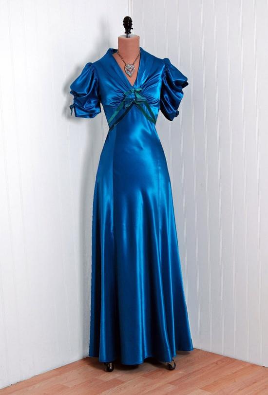Royal blue silk satin evening dress, 1930s.