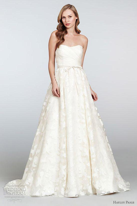 hayley paige bridal spring 2013 strapless silk organza brocade ball gown