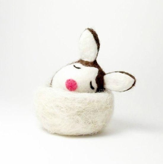 Tree Kangaroo nesting wool needle felt animal eco by needleandfelt,
