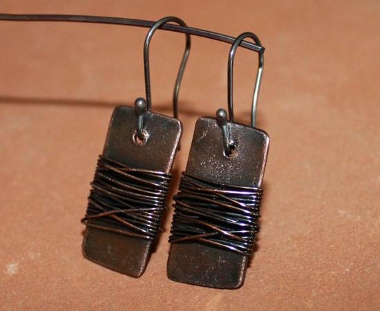 Copper Wrapped Earrings by geminipie on Etsy, $25.00