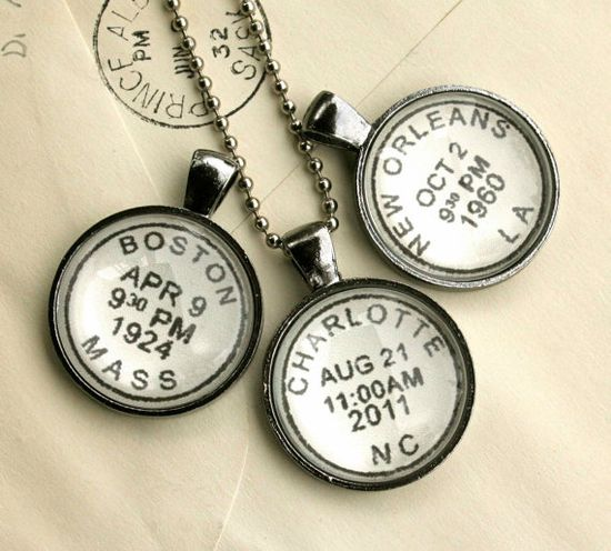 Custom Postmark Necklace  - your name or location and special date, by CrowBiz on Etsy