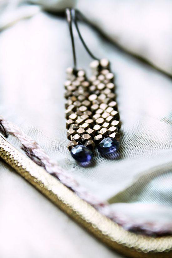 Midnight Blue Earrings Iolite Gemstone Modern by CaprichosaJewelry, $52.00