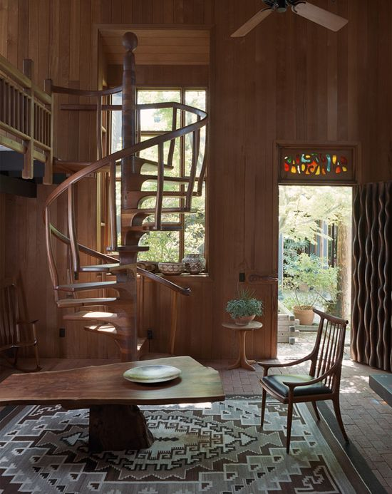 Sam Maloof, Woodworker, Alta Loma, California. This space, built in 1975-76, was originally his wife Alfreda's two-story office and studio. By 1990 it was a gallery and showroom. The spiral stair, made from scrap wood, was added in 1997.