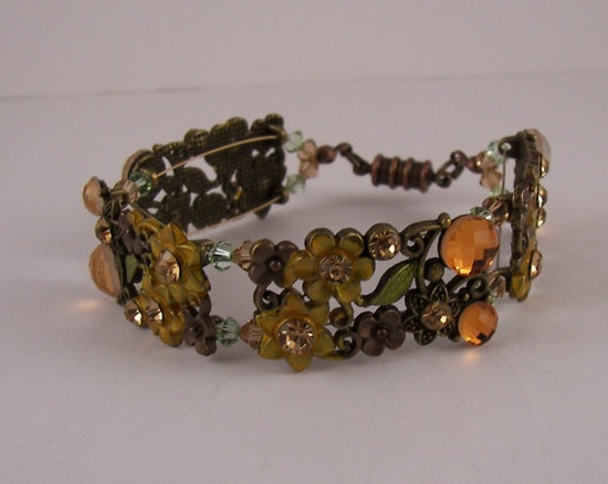 In time for Autumn Fall Floral Link Crystal by ilovemy1984 on Etsy, $18.00
