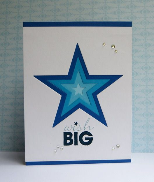handmade birthday card ... white and blues ... luv the giant die cut star with progressively smaller die cut stars inside ... clean, graphic look ... great card!!!