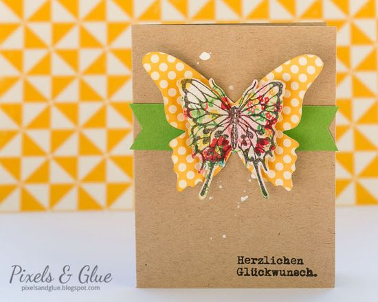 Bold handmade birthday card with colorful butterfly by @pixnglue