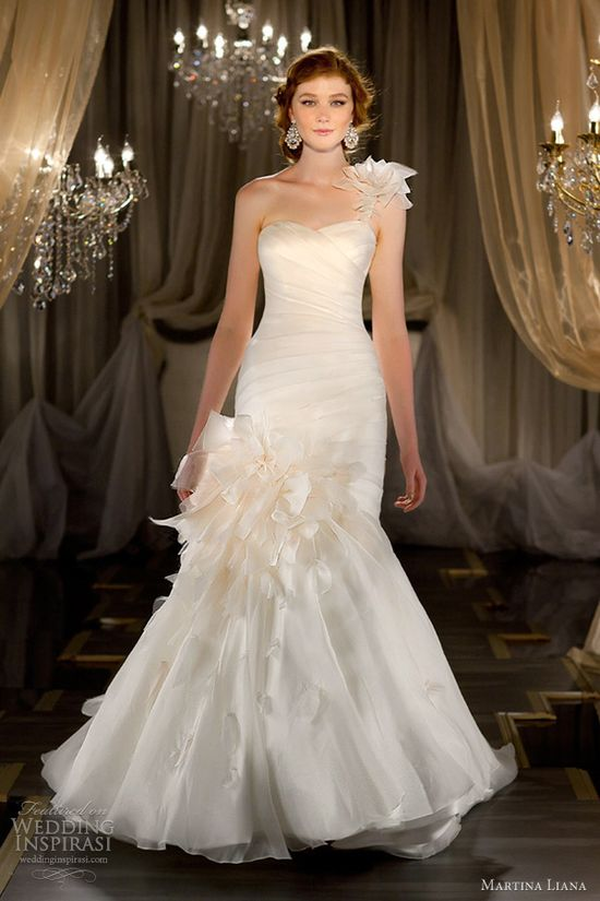 martina liana bridal 2013 mermaid gown detachable one shoulder strap 413