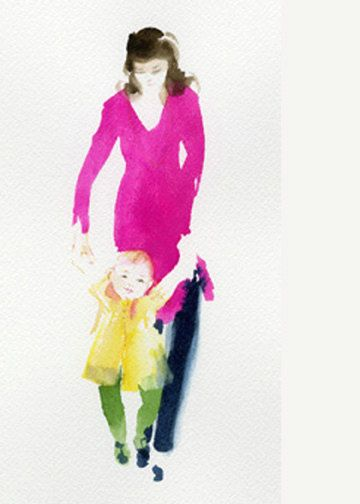 First Steps, Mother and Child by annewatkins #Illustration #Water_Color #Card #First_Steps #annewatkins