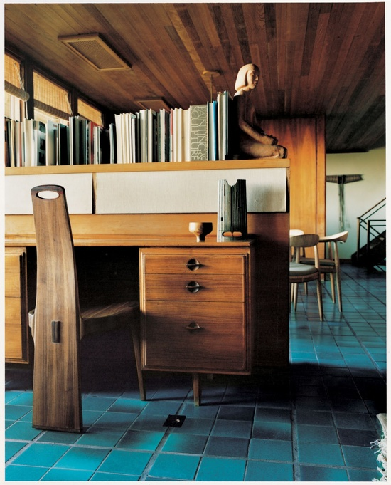 Designer John Kapel's own home:  blue tile flooring. Striking color on the floor. Love the way this just works!