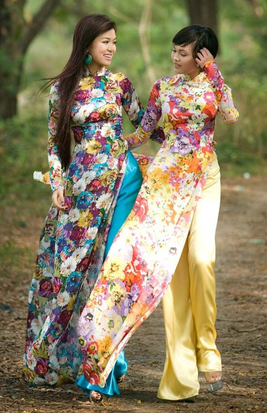 Vietnamese Ao Dai in bright brocades.