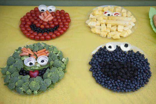 Sesame Street fruit/veggie trays.