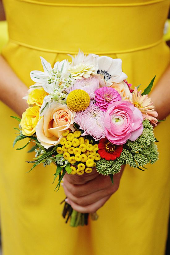 bright bouquet with yellow // photo by Sweet Monday Photography, flowers by Peacock Blooms Floral Design // View more: ruffledblog.com/...