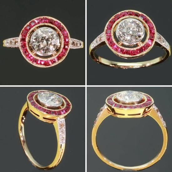ca. 1920 Art Deco ruby diamond ring 1920s Vintage by adinantiquejewellery