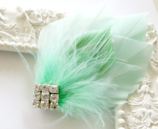 Great Gatsby Roaring 20s Art Deco Bridesmaid Head by parfaitplumes, $24.00 #weddings#hair#accessories#greatgatsby#1920s#1920#artdeco#mint#feather