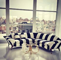 Black & White Striped Couch #interiors #livingroom #decorate #sofa