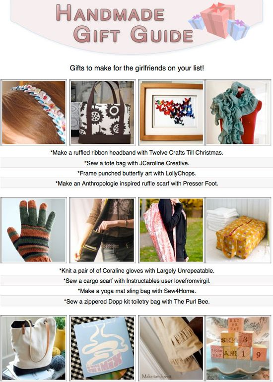 16 free tutorials for diy gifts you can make for the girlfriends on your list!