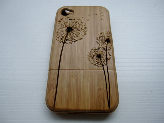 Dandelion - wooden Bamboo Iphone case 4S laser engraved. $42.00, via Etsy.