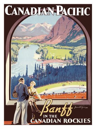 A lovely vintage travel poster for Banff. #Canada #travel #posters #vintage #Rockies
