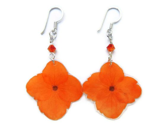Real flower Earrings Dried hydrangea by AmazoniaAccessories, €10.00