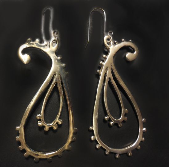 Paisley Earrings in Sterling Silver « SilverBotanica – Handmade Jewelry designed by Alicia Hanson and Hi Octane Industries Inc.