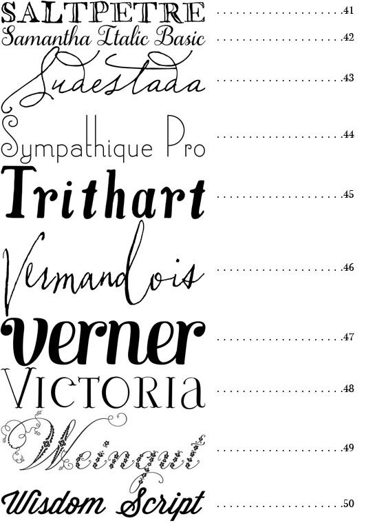 50 Fonts from Snippet & Ink
