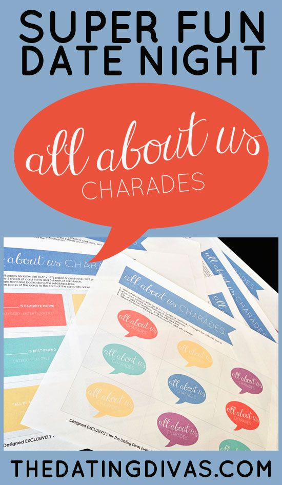 A FUN easy, at-home date that doesn't involve TV!  Free game printables included!! www.TheDatingDiva... #datenight #charades #games