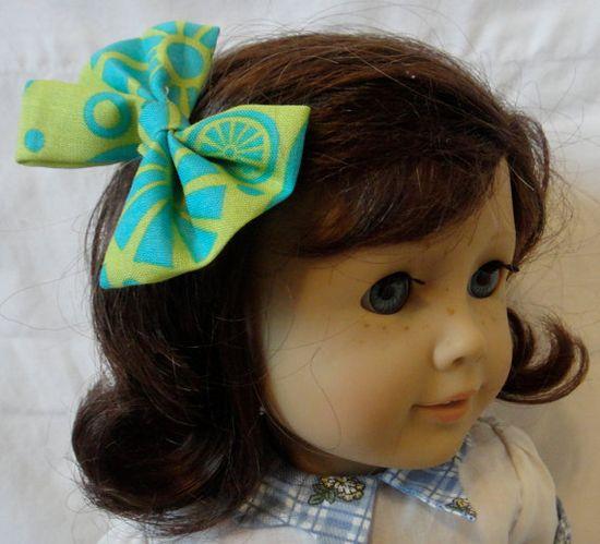 American Girl Hair Bow Mod Green Blue by PreciousBowtique on Etsy, $2.00