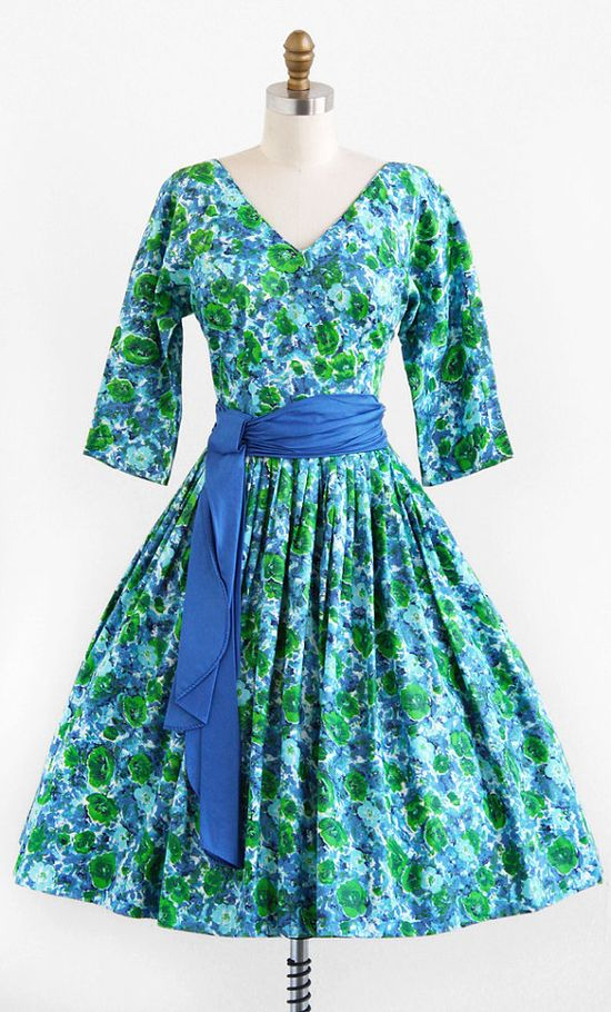 vintage 1950s floral party dress with pleated sash