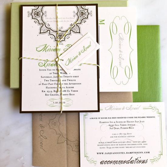 Spanish Garden Wedding Invitation Rustic Green by BeaconLane