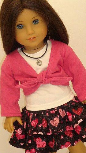 Heart print skirt, white t-shirt with pink shrug