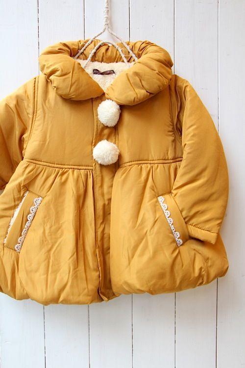 mustard yellow puffer jacket • kids coat
