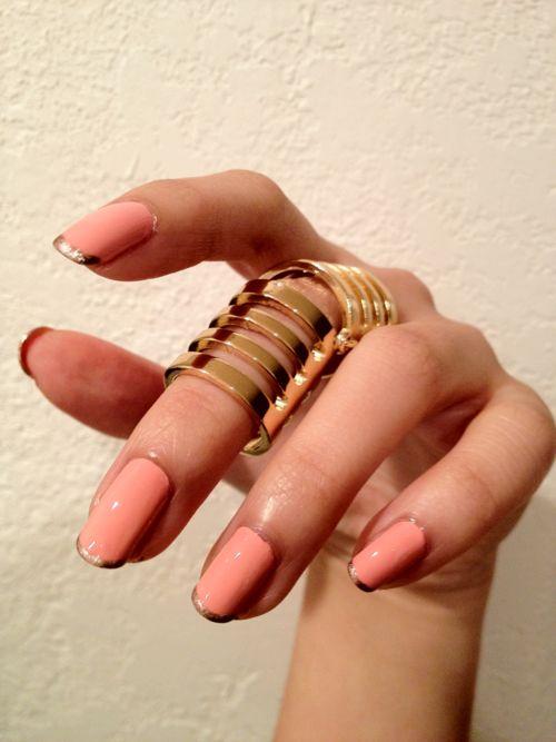 Gold Tipped Pink nails #nail #art