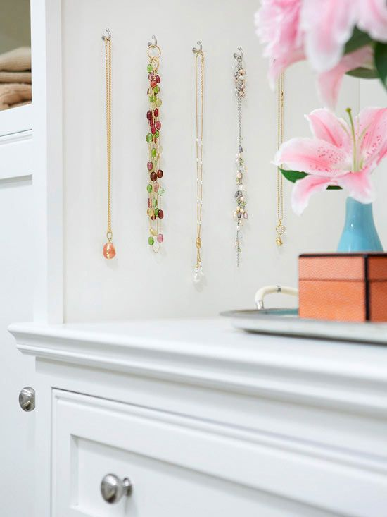 Hooked on Storage Run out of storage space in your jewelry box? Use hooks mounted on the side of a dresser or wall. Hang a row of five or six hooks to showcase a rotating display of seasonal or favorite jewelry pieces.