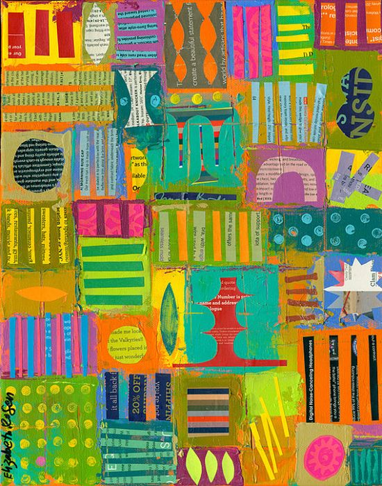 ABSTRACT collage on canvas by Elizabeth Rosen