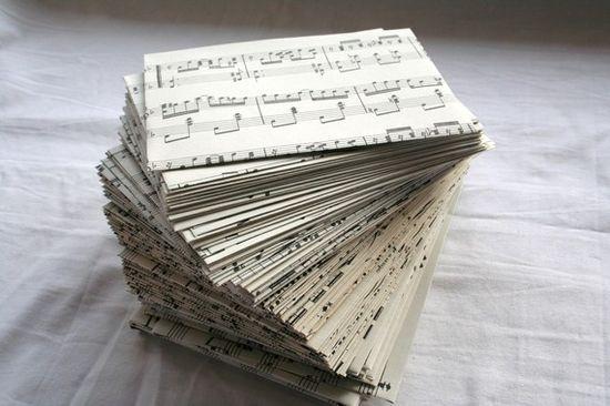 sheet music becomes envelopes