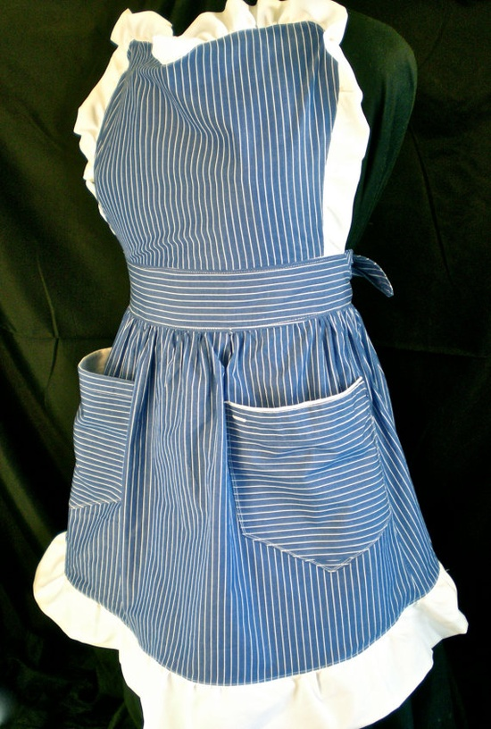 The Meghan: Pinstripe Ruffled Womens Apron S/M  (upcycled from a men's dress shirt) $50.00