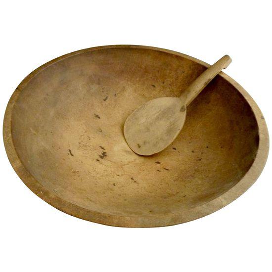 Primitive wood butter bowl paddle kitchen decor c. 1920