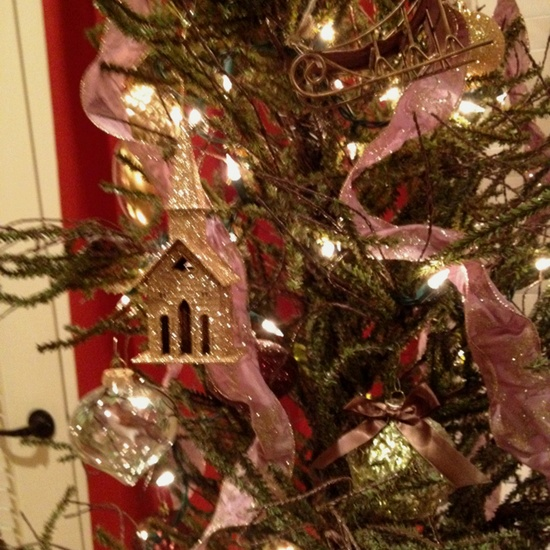 Putz house as Christmas tree ornament