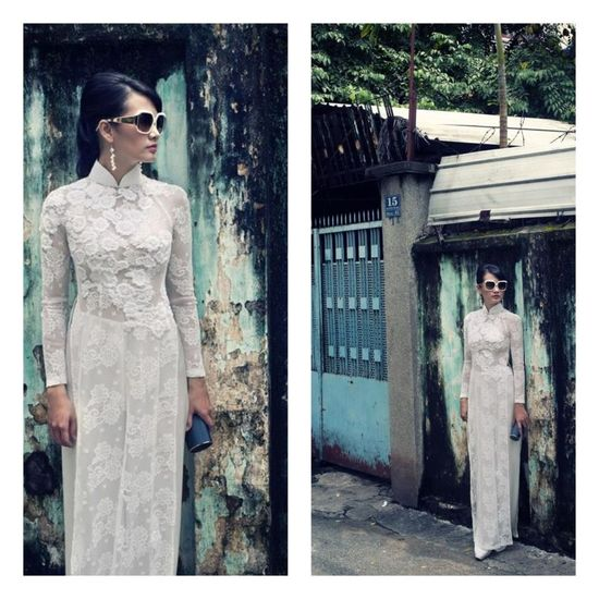 Ao dai wedding dress.