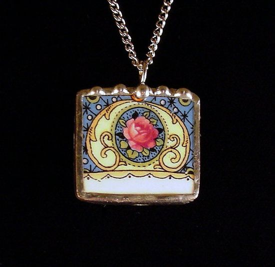 Victorian pink rose on blue. Broken china jewelry pendant necklace. Made from a broken china plate by Dishfunctional Designs