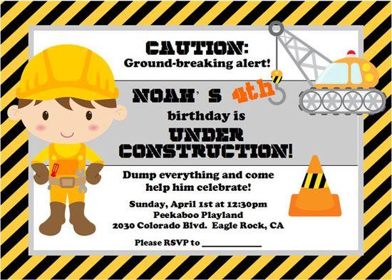 cute invite idea for a boy's construction party!