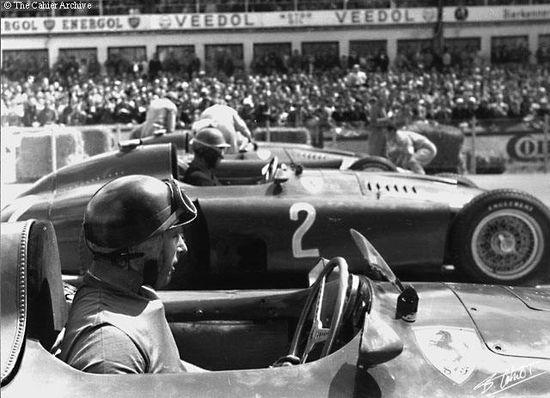 Juan Manuel Fangio in his Ferrari D50 just before the start of the German Grand Prix 1956.