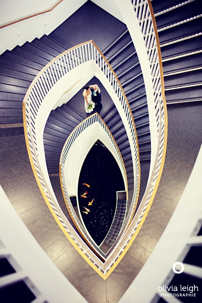 Wedding couple/staircase/koi