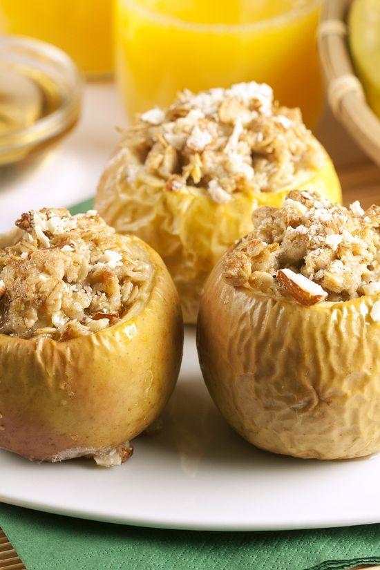 Baked Apple with Crisp Topping #Dessert #Recipe