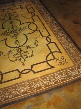 Stained concrete floor (carpet design).
