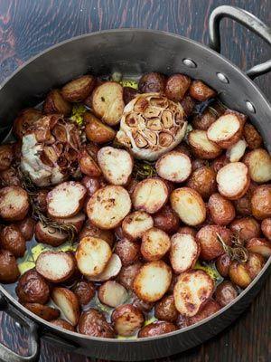 Summer Dinner Party Menu - Suvir Saran Farmhouse Crispy-Creamy Potatoes    www.redcedarcafe.com  #redcedarcafe #cafe #food #bbq #summer #cook #yum #dinner